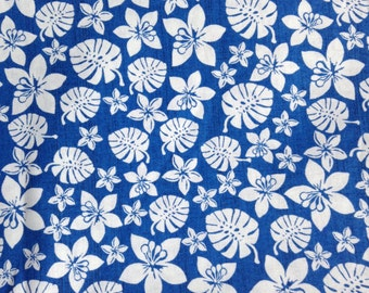 One Half Yard of Fabric Material - Tropical Hibiscus and Foliage, Tropical Fabric