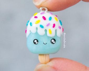 Polymer Clay Kawaii Blue Shimmery Ice Pop Chibi Charms