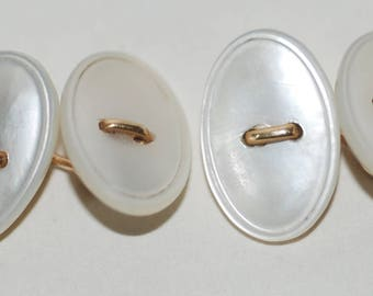 Genuine Vintage Larter Art Deco Mother of Pearl & 14K Gold Cuff Links-- Free Shipping!