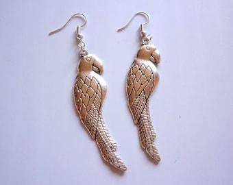 Silver Bird earrings dangle Parrot metal earrings, boho simple Bird jewelry gift for her animal earrings
