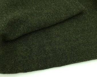 Vert foncé Herringbone - verges de tissu en laine feutrée en 100 % laine dans une Cour de quart huitième ou Fat Fat