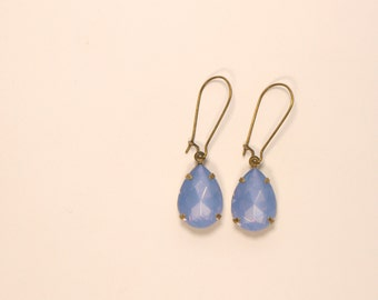 Light Blue Tear Drop Gems Jewels, Oval Blue Drop Gem Charm, Vintage Style Earrings, Antique Bronze/Brass Earwires