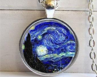 Van Gogh Starry Night Necklace, Art Pendant, Starry Night Pendant