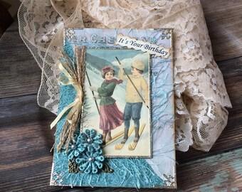 Winter Birthday Card - Ski theme Card - Vintage Ski Card