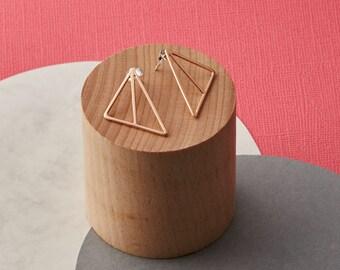 Rose gold-plated geometric triangle earrings