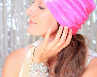 Hot Pink Turban Hat - Women's Metallic Head Wrap - Holiday Fashion - NYE Style Hair Turbans - Lots of Colors