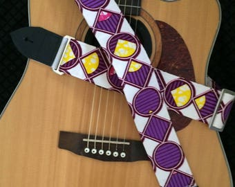 Acoustic guitar strap, purple guitar strap, african fabric, geometric pattern, art deco, unique bass player gift, electric guitar lover gift