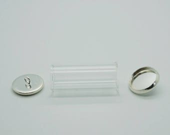 Set of 3 pieces: 1 globe glass + 2 ties on each side silver (S06)