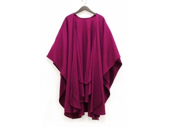 Vintage Long Layered Berry Wool Shawl Womens Mens Retro Purple Diva 70s Cape Bright