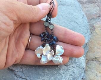 Multi gemstone earrings, Keshi pearl earrings, Keishi pearl, Kyanite earrings with Chrysoprase