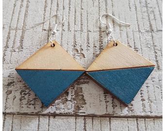 Wooden Diamond Two Tone Blue Earrings