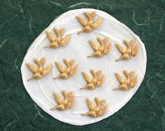 3-D Brass Hummingbirds,  Brass Bird Stampings, Bird Charms, Brass Birds, Hummingbirds, Made in the USA STA-045-10