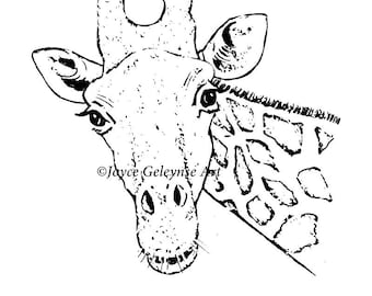 Hand Drawn Digital Stamp, Giraffe, Whimsical Clipart, Ready to Color, jpg and png files, Commercial Use, INSTANT DOWNLOAD