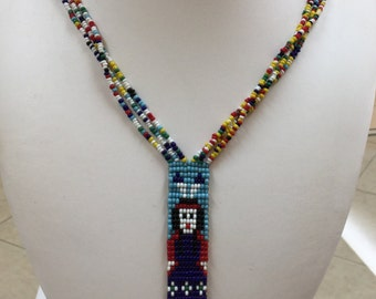 Vintage Native American  Handmade Beaded Necklace!! Free US Shipping!!!