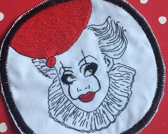 Bianca del Rio as Pennywise from IT mashup patch! Hand sewn, embroidery, RuPaul's Drag Race, Stephen King, Horror, Geek, Nerd, Drag, LGBTQ
