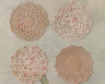 Set of 6 mini paper doilies, Tea party doilies, Wedding doilies, Baby showers, Scrapbooks, Party decor doily