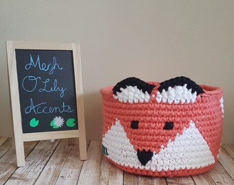 Large Fox Basket, Crochet Basket, Made to Order, 5 Color Choices.