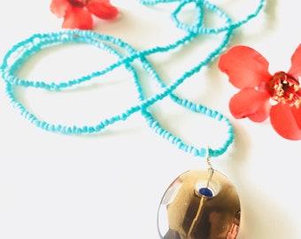 Smokey Quartz and Blue Beaded Long Necklace