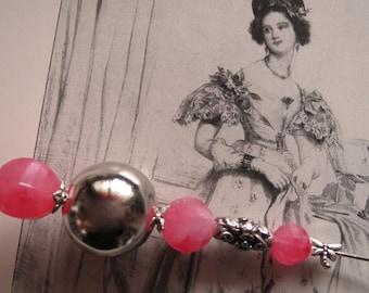 Hatpin-Hatpin-* Rosa *-Rococo, baroque-Art deco-style-Hutputz-pin, for horse racing, Ascot. Kentucky Derby or similar