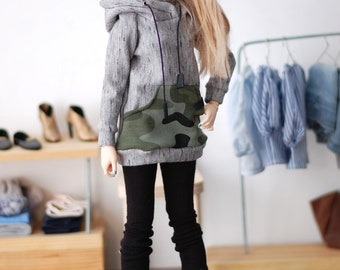 Military + gray sweatshirt hoodie for minifee MSD FR16 and other 1/4scale