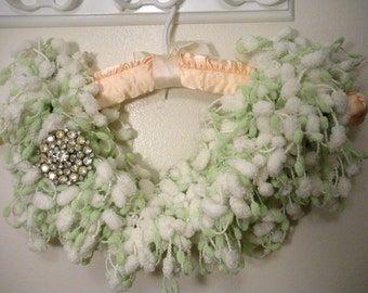 Soft Green and White Pom Pom Scarf