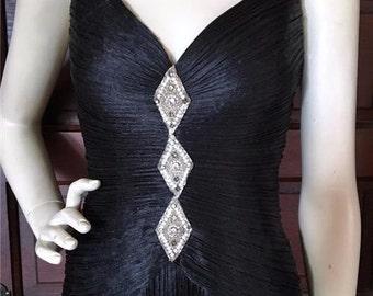 Drop Dead Gorgeous! Vintage 80's 90's MORTON MYLES Fortuny Pleat Gown Black Formal Full Length Dress XS Rhinestone Detail Spaghetti Straps