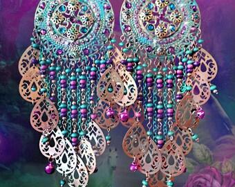 """Large Exotic Moroccan Medallion Earrings, Mint Green, Teal, Purple, Arabian Nights Fantasy Chandelier Earrings, Gypsy, 6 1/2"""" Long, Huge!"""