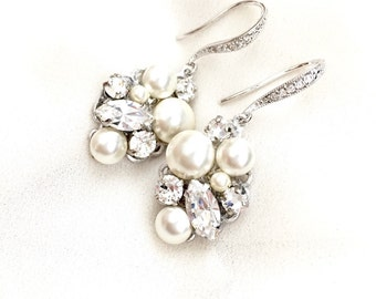 Pearl Rhinestone Cluster Wedding Earrings, Swarovski Bridal Jewelry, handmade Bridal Earrings, couture bridal accessories HEAVEN