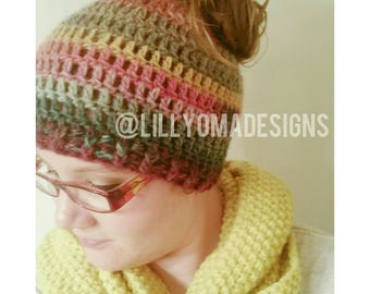Messy Bun Beanie - Ponytail Hat - Crochet Bun Hat