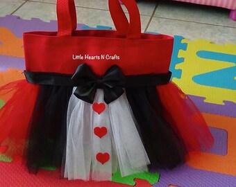 Queen of hearts tutu purse, Alice in Wonderland purse Tutu Purse Canvas Tote Bag
