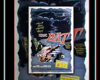 THE BAT On Linen (1959) Vincent Price Very Rare 27x40 Rolled US One Sheet Movie Poster Original Vintage Collectible