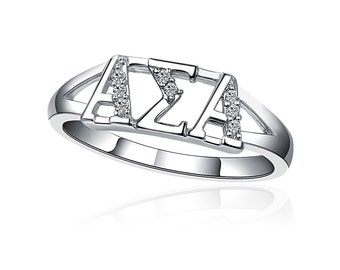 Alpha Sigma Alpha Ring,  Horizontal Design, Sterling Silver (ASA-R001)
