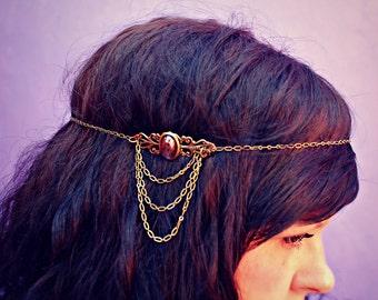 chain head piece, chain headband, grecian headband, metal headband, unique headband