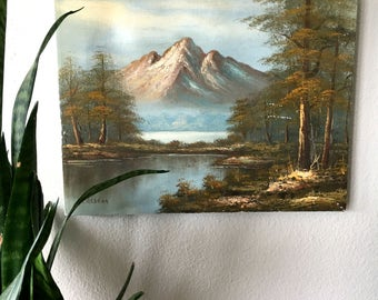 Vintage Mountain Landscape Painting / Original Acrylic Scenery Painting / Signed Artwork