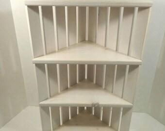 Wooden Corner Shelf - Corner Crate Shelves - Shelves for Corner - Knickknack Shelf - Corner Display - DREAMATHEME - Whitewashed Shelf
