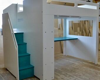 Lit loft moderne avec rangement pour matelas de taille