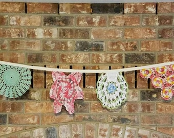 Vintage doilies bunting baby shower wedding home decor colorful doilies repurposed