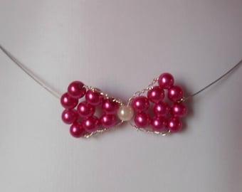 Fuchsia bow bridal necklace