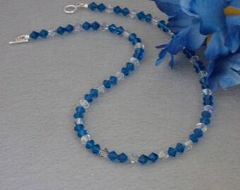 Swarovski Crystal Beaded Necklace In Capri Blue & Blue Shade Crystal   FREE SHIPPING