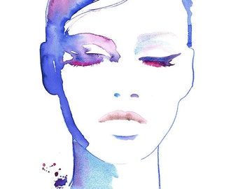 Cosmetic Illustration, Fashion Illustration, Fashion Print, Watercolor Fashion, Fashion Poster, Makeup Illustration, Eyeliner art, Cate Parr