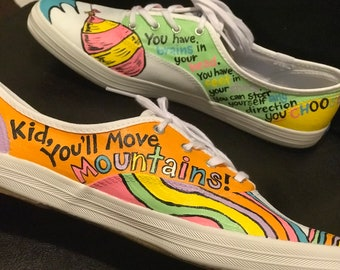 Adults Seuss OH the PLACES Inspired Shoes Any Size