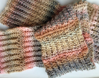 Peach, Tan and Grey Handknit Soft Wool Scarf. One of a Kind.
