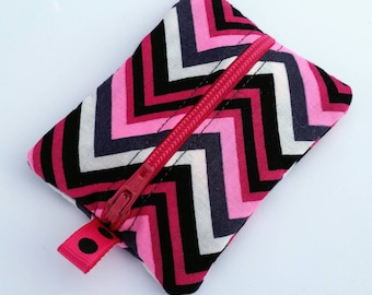 FREE SHIPPING UPGRADE with minimum -  Tiny zipper pouch / earbud holder / earbud pouch / coin pouch | Pink and Black Chevron