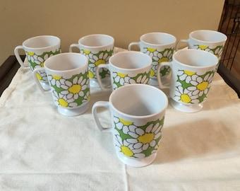 Vintage Plastic Flower Pedestal Mugs Stacking Set of 8