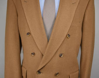 Pietrafesa Solid Light Brown 100% Camel Hair Double Breasted Sport Coat Size: 44R