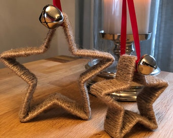 Twine wrapped stars with bells