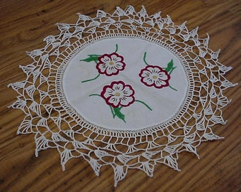 Vintage Dogwood Doily, Hand Embroidered  Floral Blossom Table Linen, Crocheted Lace Edge, Cottage Chic Home Decor itsyourcountry