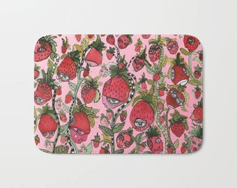 Strawberry fields abstract art  microfiber bath mat kitchen mat rug unique designer kids home decor bathroom accessories bath rug folk art