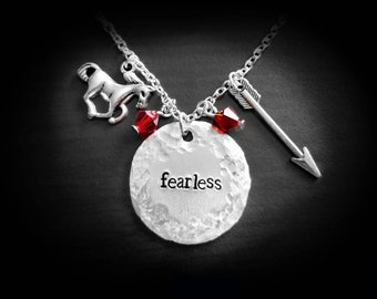 Fearless Necklace Be Brave Necklace Fearless Feminist Necklace / Strong Woman Necklace / Horse Charm Necklace / Arrow Necklace Feminism Gift
