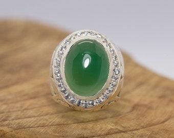 Green Chalcedony Men's Ring